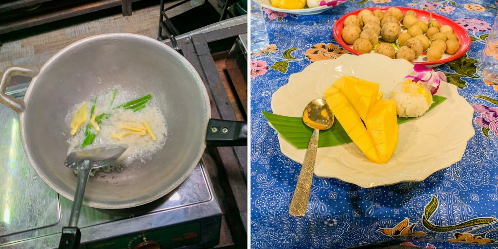 Nachtisch beim Kochurs in Bangkok Mango Sticky Rice