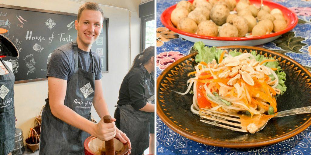 Papaya Salat machen beim Kochkurs in Bangkok