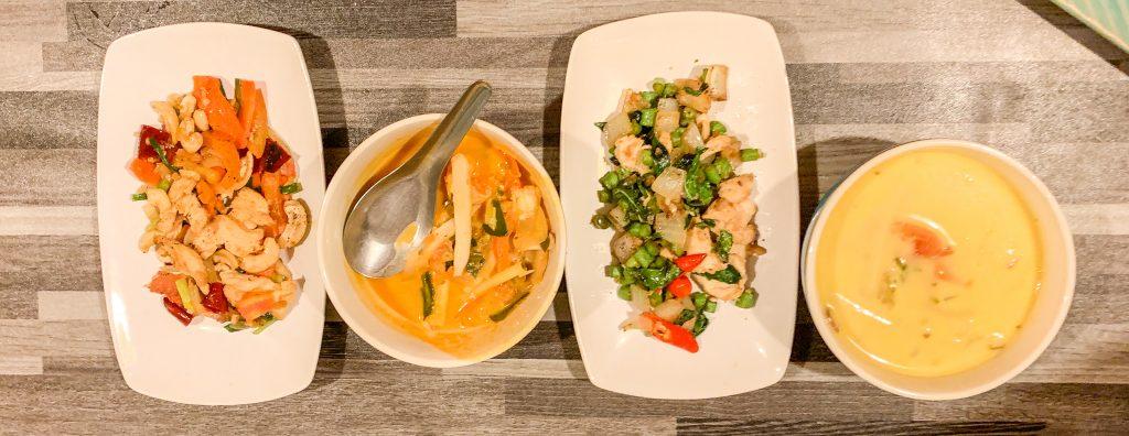 Hähnchen mit Cashewnüssen, Gebratener Thai Basilikum, Tom kha gai, Tom Yam Koong Kochkurs