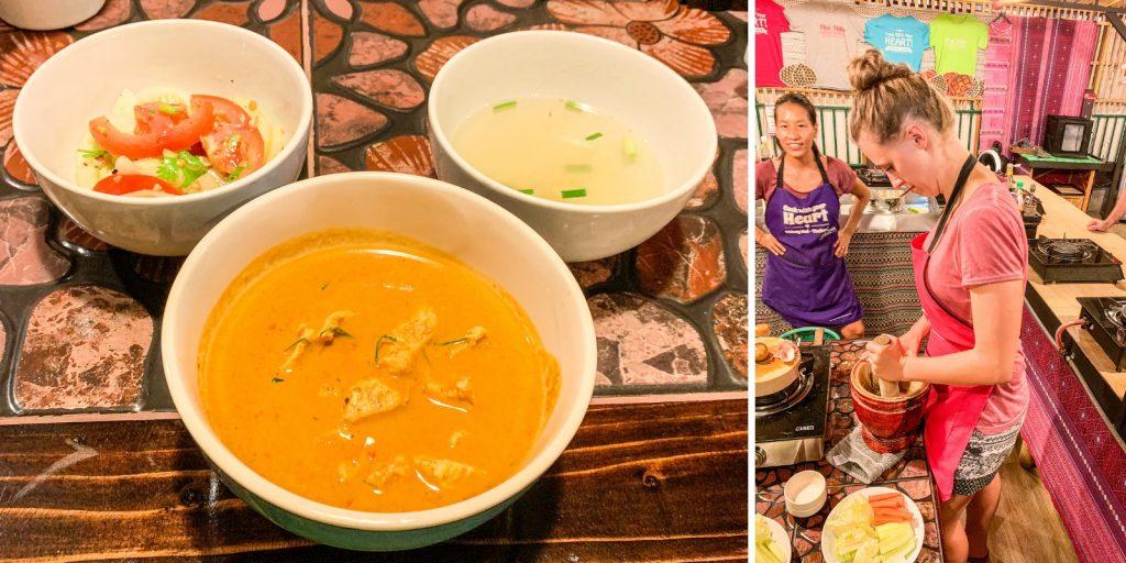 Curry und Akha Gerichte beim Thai Akha Kochkurs in Chiang Mai
