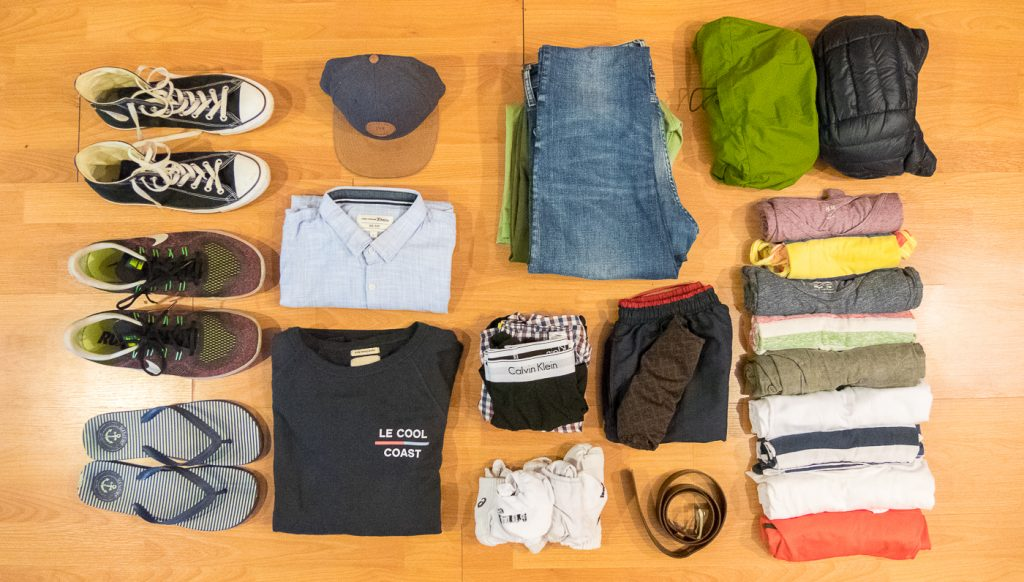 Weltreise Packliste Klamotten Männer