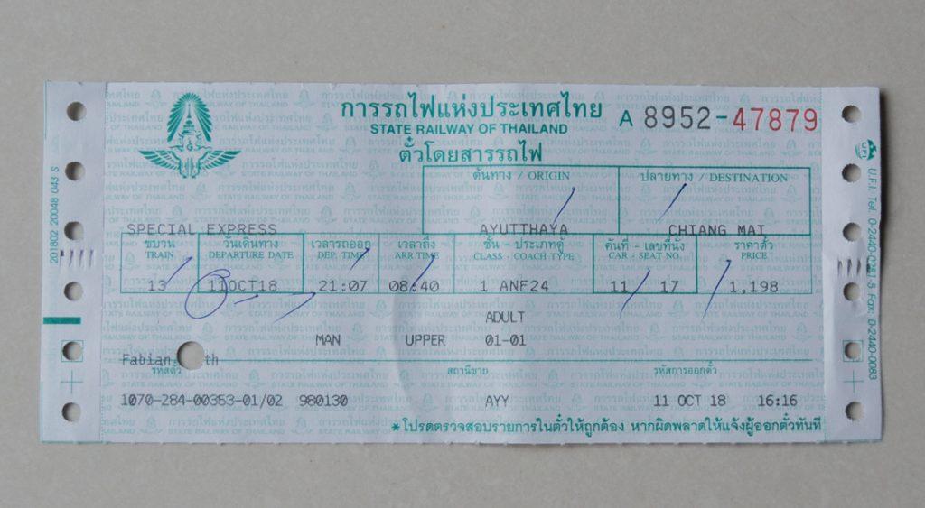 Bahnticket in Thailand